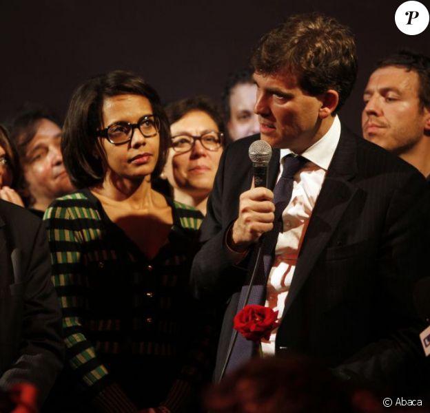 Arnaud Montebourg et Audrey Pulvar à La Bellevilloise à Paris le 9 octobre 2011