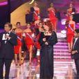 Jamel Debbouze et Gad Elmaleh débarquent sur le plateau de Miss France, le 8 décembre 2012.