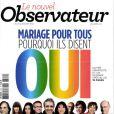 Couverture du Nouvel Observateur, et du manifeste de 72 personnalités en faveur du mariage pour tous, le 10 janvier 2012.