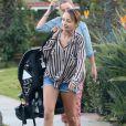 Nicole Richie et ses enfants Harlow et Sparrow quittent leur hotel a Beverly Hills, le 19 janvier 2013.