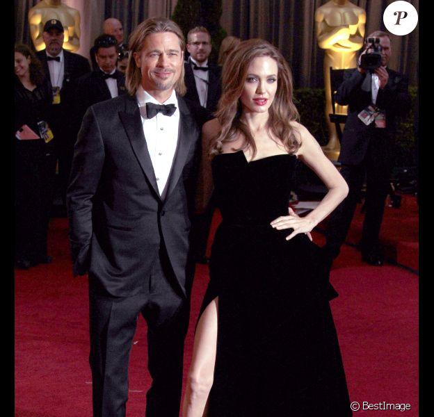 Angelina Jolie et Brad Pitt à la 84e Cérémonie des Oscars, à Los Angeles, le 26 février 2012.