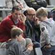 """"""" Iñaki Urdangarin et ses garçons Pablo (12 ans) et Miguel (10 ans) au Palau Sant Jordi de Barcelone le 23 janvier 2013 devant le quart de finale du mondial de handball entre la Slovénie et la Russie (28-27). """""""