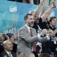 """"""" Le prince Felipe lors de la victoire de l'Espagne face à la Hongrie le 17 janvier 2013 en match de poules du championnat du monde de handball, à Madrid. """""""