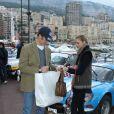 Pierre Casiraghi et Beatrice Borromeo à Reims le 27 janvier 2013 avant le départ du 16e Rallye Monte-Carlo historique, à Monaco.
