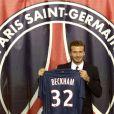 David Beckham lors de sa conférence de presse au Parc des Princes le 31 janvier 2013 à Paris après la signature de son contrat qui fait de lui un joueur du PSG