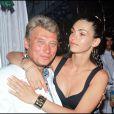 Adeline Blondieau et Johnny Hallyday à Saint-Tropez, le 21 juillet 1990.