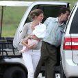 Gisele Bündchen, Tom Brady et leurs enfants Benjamin et Vivian arrivent sur l'île de Maui à Hawaï le 7 février 2013.