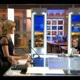 Johnny Hallyday et Amanda Sthers invités par Laurent Delahousse sur le plateau du 20 heures de France 2, le 9 février 2013.