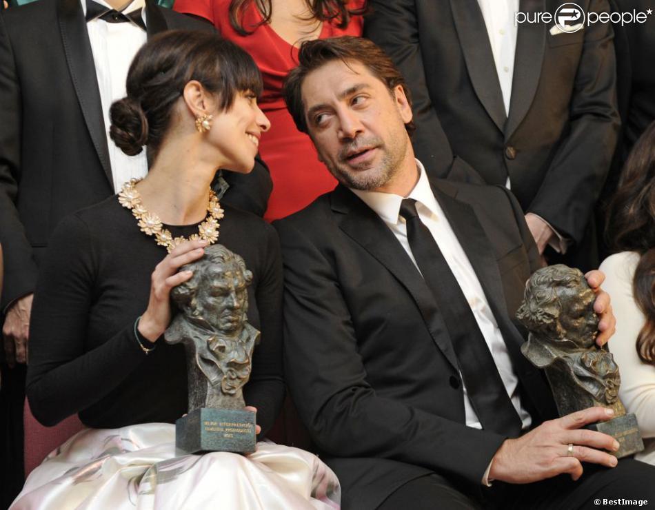 Maribel Verdu et Javier Bardem lors de la 27e cérémonie des Goya à Madrid le 17 février 2013