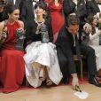 Macarena Garcia, Maribel Verdu et Javier Bardem lors de la 27e cérémonie des Goya à Madrid le 17 février 2013