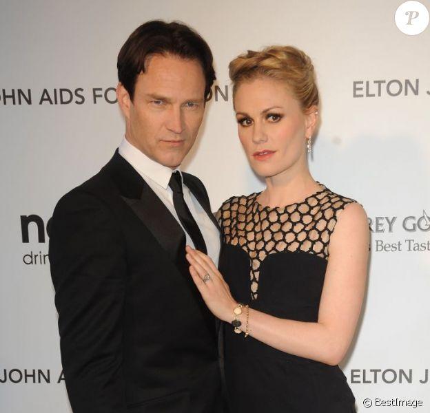 Anna Paquin et Stephen Moyer à la soirée Oscars donnée par Elton John à Los Angeles le 24 février 2013.