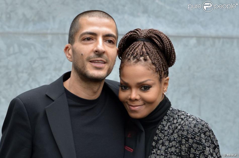 Janet Jackson et son mari Wissam Al Mana au défilé Armani lors de la Fashion Week de Milan, le 25 février 2013. Le couple a récemment avoué s'être marié en secret en 2012.