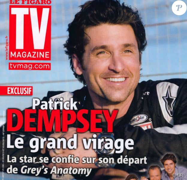 Patrick Dempsey fait la couverture de TV Magazine, en kiosques depuis le 1er mars 2013. Il parle de sa participation aux 24 heures du Mans et son rôle dans Grey's Anatomy.