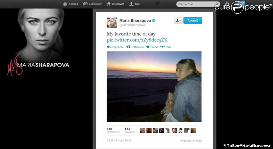 Quand Maria Sharapova ne voyage pas d'un pays à l'autre pour disputer quelques tournois, pour un shooting ou pour promouvoir sa gamme de bonbon, la sublime bonde se détend. Et comme tout le monde, c'est au bord de la mer, devant un coucher de soleil, son petit chien dans les bras. Naturelle quoi.
