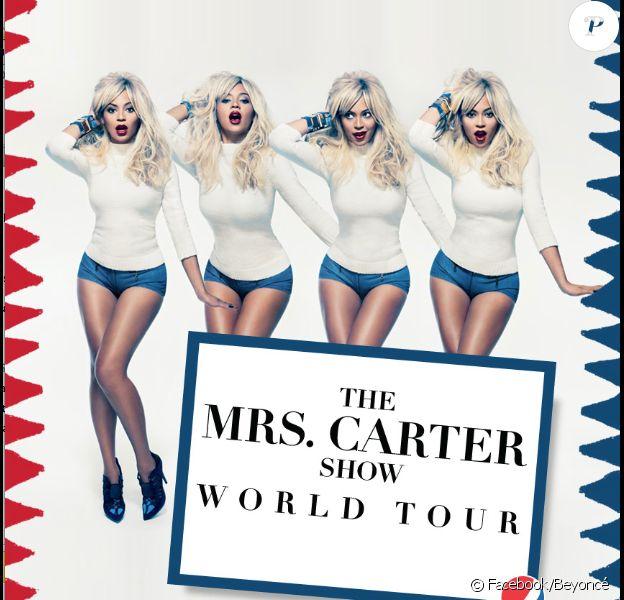 Beyoncé a dévoilé un nouveau poster pour les besoins de sa prochaine tournée mondiale, Mrs Carter World Tour, qui débutera le 15 avril 2013 à Belgrade.