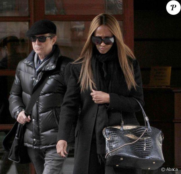 David Bowie et sa femme Iman le 13 mars 2013 à New York.