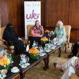 La duchesse de Cornouailles, Camilla Parker Bowles, a rencontré des femmes lors d'un groupe de discussion, durant sa visite à Doha, capitale du Qatar, le 14 mars 2013.