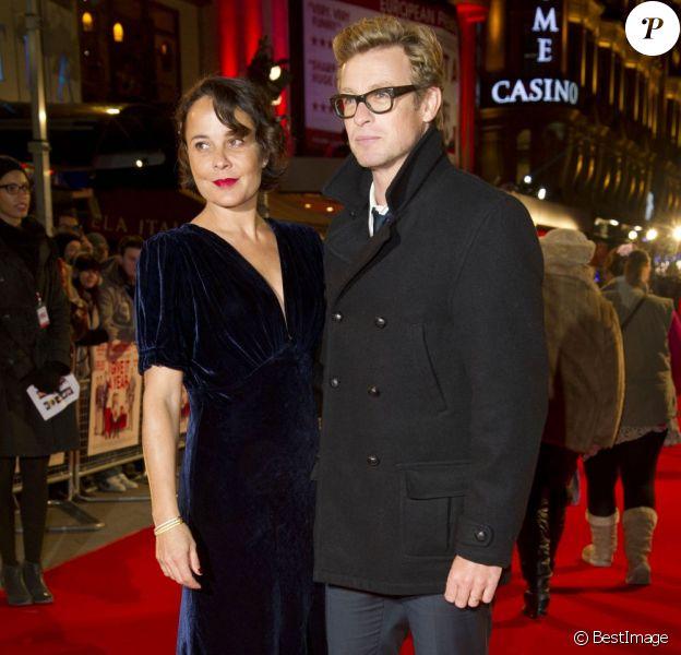Simon Baker et sa femme Rebecca Rigg en janvier 2013 à Londres