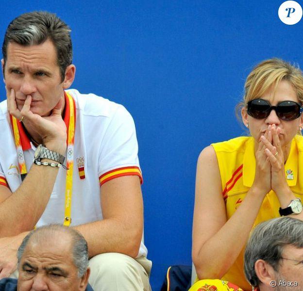 Cristina d'Espagne et son époux Iñaki Urdangarin en août 2008 lors des JO de Pékin.