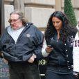 Le comédien Gérard Depardieu va dejeuner avec sa fille Roxane à New York, le 5 avril 2013 alors qu'il etait convoqué le même jour au tribunal à Paris pour conduite en etat d'ivresse.