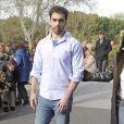 Zeus Tous, le fils de Sara Montiel assiste ému aux funérailles de sa mère à Madrid, le 8 avril 2013.