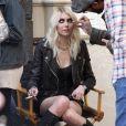 Taylor Momsen, sur le tournage d'un clip dans les rues de New York, le 9 avril 2013.