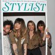 Daphné Bürki, enceinte, son compagnon Gunther Love, Anne Marivin et Axelle Laffont à la soirée de lancement du magazine  Stylist  à la Gaîté Lyrique à Paris, le 18 avril 2013.