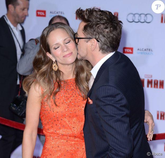 Robert Downey Jr. et son épouse Susan lors de l'avant-première du film Iron Man 3 à Hollywood (Los Angeles) le 24 avril 2013