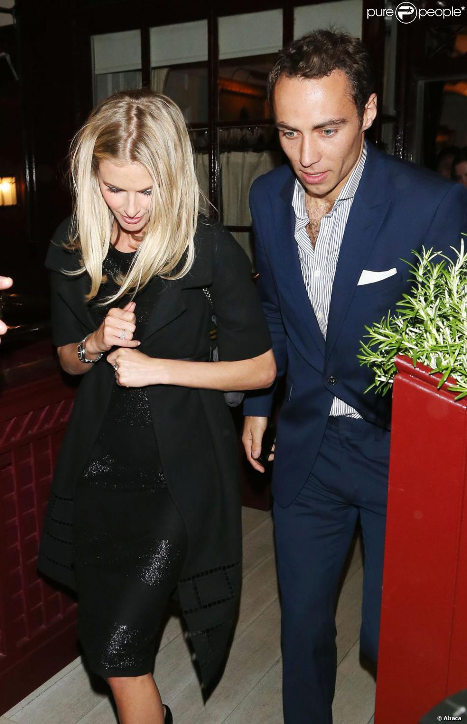 James Middleton et Donna Air à la sortie du Loulou's dans Mayfair le 25 avril 2013, après une soirée en compagnie de Pippa et Nico Jackson.