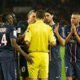 Zlatan Ibrahimovic, Blaise Matuidi, Javier Pastore, Jérémy Menez contestent les décisions pendant le match entre le PSG et Valenciennes (1-1) au Parc des Princes, Paris, le 5 mai 2013.