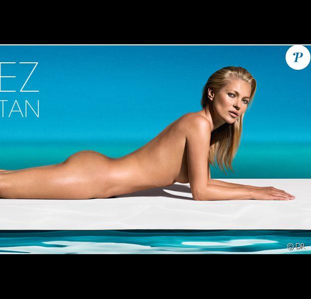 Kate Moss, nouvelle ambassadrice des autobronzants de la marque St Tropez, ose le nu à l'approche de l'été.