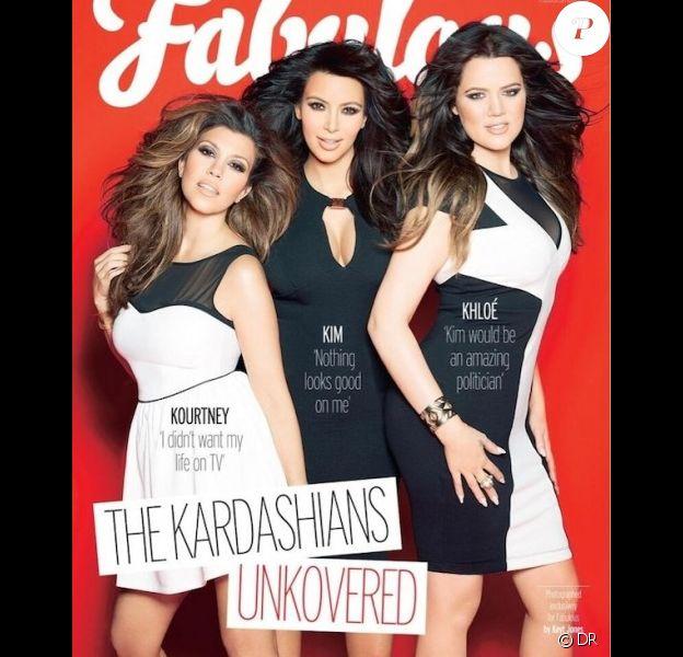 Kourtney, Kim et Khloé Kardashian en couverture du magazine Fabulous.