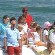 La famille royale d'Espagne sur le yacht Fortuna en 2005 à Majorque