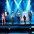 La troupe du spectacle - Aurore Delplace de l'émission The Voice 2 intègre la troupe du spectacle musical Salut les copains, au théâtre des Folies Bergère, à Paris le 16 mai 2013.