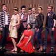 Aurore Delplace de l'émission The Voice 2 intègre la troupe du spectacle musical Salut les copains, au théâtre des Folies Bergère, à Paris le 16 mai 2013. Ici avec toute la troupe