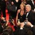 Dominique Strauss-Kahn et sa compagne Myriam L'Aouffir sur le tapis rouge lors du 66e Festival de Cannes, le 25 mai 2013.