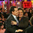 Nicolas Sarkozy et Christian Clavier lors de l'enregistrement de l'émission Vivement dimanche le 02 décembre 2004