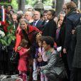 Manuel Valls, Michel Sapin, Edouard Balladur, Christiane Taubira, Michel Rocard lors de l'enterrement du constitutionnaliste Guy Carcassonne au cimetière de Montmartre le 3 juin 2013