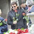 Patrick Bruel lors de l'enterrement du constitutionnaliste Guy Carcassonne au cimetière de Montmartre le 3 juin 2013