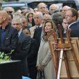 Valérie Trierweiler, Edouard Balladur, Claude Bartolone lors de l'enterrement du constitutionnaliste Guy Carcassonne au cimetière de Montmartre le 3 juin 2013