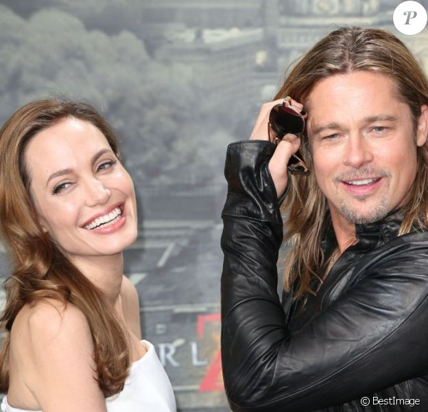 Brad Pitt et sa belle Angelina Jolie à la première de World War Z, à Berlin, en Allemagne, le 4 juin 2013.