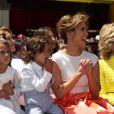 """Jennifer Lopez avec ses enfants Max Anthony, Emme Anthony, et Jane Fonda à la remise de l'étoile de Jennifer Lopez sur le """"Walk of Fame"""" à Hollywood, le 20 juin 2013."""