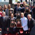 AJ McLean, Howie Dorough, Kevin Richardson, Nick Carter et Brian Littrell de Backstreet Boys reçoivent leur étoile à Hollywood, le 22 avril 2013.