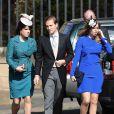 La princesse Eugenie d'York, la princesse Beatrice d'York et son compagnon Dave Clark lors du mariage de Lady Melissa Percy, fille du duc de Northumberland, et de Thomas van Straubenzee à Alnwick en Angleterre le 22 juin 2013
