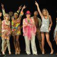 Elisabeth Bost, Caroline Ithurbide, Hapsatou Sy, Laurence Ferrari, Audrey Pulvar, Roselyne Bachelot lors du tournage du clip pour la comédie musicale Disco le 24 juin 2013 aux Folies Bergères à Paris
