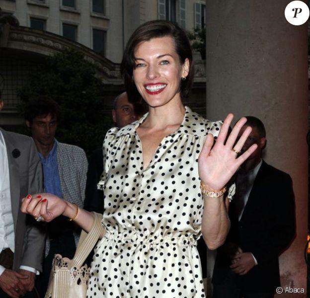 Milla Jovovich assiste à la soirée de lancement de la collection Jardin Secret de Savelli au musée Jacquemart-André. Paris, le 3 juillet 2013.