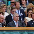 Le duc d'York et Philip Brook dans la loge royale à Wimbledon au All England Lawn Tennis and Croquet Club le 5 juillet 2013