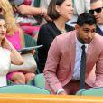 Amir Khan et son épouse Fayarl dans la loge royale à Wimbledon au All England Lawn Tennis and Croquet Club le 5 juillet 2013