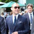 Jude Law lors de son arrivée à Wimbledon au All England Lawn Tennis and Croquet Club le 5 juillet 2013
