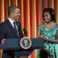 Barack Obama et Michelle lors de la 1er édition du Kids State Dinner à la Maison-Blanche, le 20 août 2012.